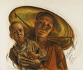 Paintings, ALEXANDRE IACOVLEFF (Russian 1887-1938). Woman, Hue - French Indo-China, 1932. Sanguine and charcaol on paper. 20-1/2 x...