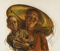 ALEXANDRE IACOVLEFF (Russian 1887-1938) Woman, Hue - French Indo-China, 1932 Sanguine and charcaol on paper 20-1/2 x