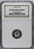Proof Roosevelt Dimes: , 1959 10C PR68 Deep Cameo NGC. NGC Census: (14/2). Numismedia Wsl.Price for NGC/PCGS coin in PR68: ...