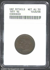 """1851 1/2 C AU50 Brown ANACS. Mintage: 147,672. The latest Coin World """"Trends"""" price is $135.00. The current Co..."""