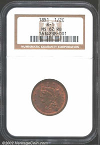 """1851 1/2 C MS62 Red and Brown NGC. Mintage: 147,672. The latest Coin World """"Trends"""" price is $290.00. ...(PCGS..."""