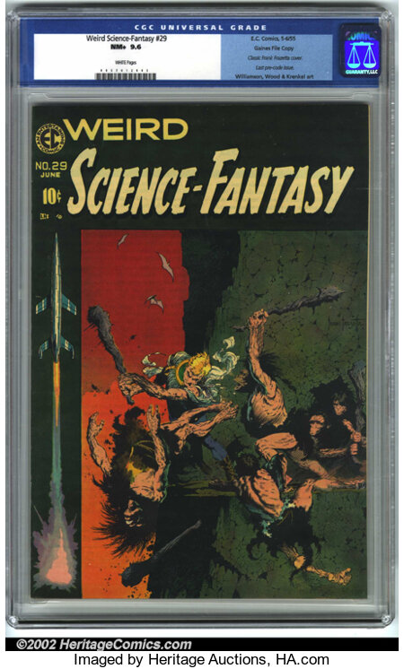 Weird Science-Fantasy #29 Gaines File pedigree 9/12 (EC, 1955). CGC NM+ 9.6 White pages. Classic Frank Frazetta cover. Last ...