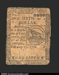 Colonial Notes:Continental Congress Issues, February 17, 1776, $1/6, Continental Congress Issue, CC-19, ...