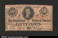 Confederate Notes:1863 Issues, 1863 50 Cents Bust of Jefferson Davis, T-63, VF. ...