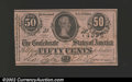 Confederate Notes:1864 Issues, 1864 50 Cents Bust of Jefferson Davis, T-72, CU. Note has a ...