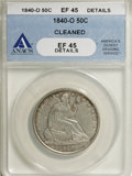 Seated Half Dollars: , 1840-O 50C --Cleaned--ANACS. XF45 Details. NGC Census: (5/44). PCGSPopulation (8/36). Mintage: 855,100. Numismedia Wsl. Pri...
