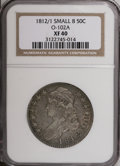 Bust Half Dollars: , 1812/1 50C Small 8 XF40 NGC. O-102A. NGC Census: (6/68). PCGSPopulation (9/58). Numismedia Wsl. Price for NGC/PCGS coin i...