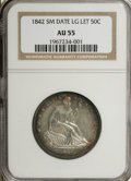 Seated Half Dollars: , 1842 50C Small Date, Large Letters AU55 NGC. NGC Census: (16/51).PCGS Population (12/23). (#6240)...