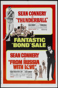 "Movie Posters:James Bond, Thunderball/From Russia with Love Combo (United Artists, R-1968).One Sheet (27"" X 41""). James Bond...."