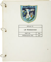 Apollo 10 Complete Lunar Module Flown Rendezvous Checklist with Original Signed Snoopy Sketch by Charles Schulz