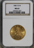 Liberty Eagles: , 1886-S $10 MS63 NGC. NGC Census: (183/9). PCGS Population (215/9). Mintage: 826,000. Numismedia Wsl. Price for NGC/PCGS coi...