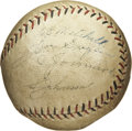Autographs:Baseballs, 1929 St. Louis Cardinals Game Used and Signed Baseball. Tremendousvintage National League baseball was used on the field d...
