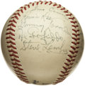 Autographs:Baseballs, 1948 Montreal Royals Team Signed Baseball. Not long after JackieRobinson broke the color barrier with the Brooklyn Dodgers...