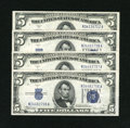 Fr. 1653 $5 1934C Wide Face Silver Certificates. Three Examples. Gem CU Fr. 1654 $5 1934D Wide Silver Certificate. Gem C...