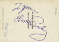 Music Memorabilia:Autographs and Signed Items, Elvis Signed Trading Card, 1958. A rare combination of a stellarautograph on a rare piece of memorabilia, this vintage trad...(Total: 1 Item)