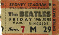 Music Memorabilia:Tickets, Beatles Sydney Stadium Ticket 1964 Stub. A used stub from the June19, 1964 show at the Sydney Stadium in Australia -- the s...(Total: 1 Item)