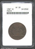 1787 1C Fugio Cent, STATES UNITED, Cinquefoils VF20 ANACS. Breen-1310. K. 6-W.1, R.4. About one third of the sundial num...