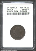 1804 1/2 C Spiked Chin--Cleaned--ANACS. XF Details, Net VF20. C-8, B-7, R.1. The date has a crosslet 4, and the wreath r...