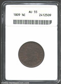 1809 1/2 C AU55 ANACS. C-6, B-6, R.1. The obverse is sharply detailed, while the reverse is slightly weak in strike only...
