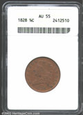 1828 1/2 C 13 Stars AU55 ANACS. The richly toned, orange-brown surfaces are boldly defined throughout with no mentionabl...