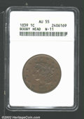 1839 1C Booby Head AU55 ANACS. N-11. Sharply struck with even, medium brown patina....(PCGS# 1751)