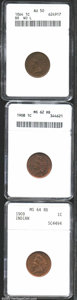 1864 1C Bronze No L AU50 ANACS, a mahogany-brown example with sharp details and problem free surfaces; 1908 MS62 Red and...