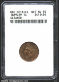 1869/69 1C --Cleaned--ANACS. Unc Details, Net AU50. FS-8.3, Breen-1977, Snow-3. From an early die state that has a curve...