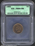 1882 1C PR66 Red and Brown ICG. The glossy yellow-green surfaces are well preserved. An exquisitely struck near-Gem. A t...