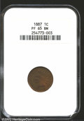 1887 1C PR65 Brown NGC. Deep brown patina covers each side with faint traces of original red still evident when the coin...