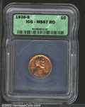 1936-S 1C MS67 Red ICG. A lustrous orange-gold example that has a very good strike. There are a few very faint lavender...