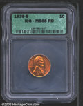 1939-S 1C MS68 Red ICG. Lustrous and essentially pristine with rich orange-gold color. The strike is a bit soft on the u...