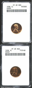 Proof Lincoln Cents: , A lot of (2) 1938 1C PR65 Red ANACS. The first Cent is a ...