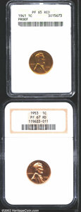 1941 1C PR65 Red ANACS, slightly hazy with a few speckles of light carbon; and a 1953 PR67 Red NGC, the pinkish-red sur...