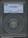 1886 3CN PR67 PCGS. The base of the 6 in the date is repunched. The silver-gray surfaces have just a hint of tan color...