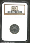 Proof Shield Nickels: , 1871 5C PR65 NGC. Mottled silver-gray patina overlays ...