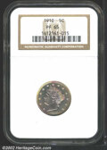 Proof Liberty Nickels: , 1910 5C PR65 NGC. Whispers of pastel-pink iridescence ...