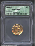 Buffalo Nickels: , 1938-D 5C MS67 ICG. The lustrous surfaces have blushes of ...