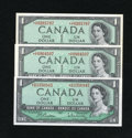 Canadian Currency: , BC-37bA-i $1 1954 Gem CU. BC-37cA $1 1954 Gem CU. BC-37dA $1 1954Gem. CU.. ... (Total: 3 notes)