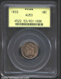 Bust Dimes: , 1833 10C AU53 PCGS. JR-5, R.1. Richly toned in rose and ...