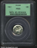 Proof Mercury Dimes: , 1941 10C PR65 PCGS. Brilliant, deeply mirrored, and ...