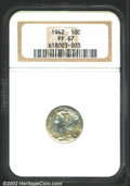 1942 10C PR67 NGC. Both sides have light milky-lemon patina. The date is not sharply struck, but the devices are exquisi...