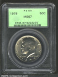 Kennedy Half Dollars: , 1979 50C MS67 PCGS. Light, even golden toning covers both ...