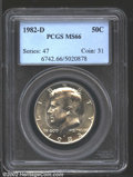 Kennedy Half Dollars: , 1982-D 50C MS66 PCGS. Brightly lustrous with a thin veil ...