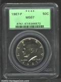 Kennedy Half Dollars: , 1987-P 50C MS67 PCGS. Light, even golden toning covers ...