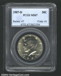 Kennedy Half Dollars: , 1987-D 50C MS67 PCGS. Superb quality with soft, satin-...
