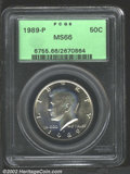 Kennedy Half Dollars: , 1989-P 50C MS66 PCGS. Lightly toned with bright satin-...