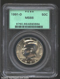 Kennedy Half Dollars: , 1991-D 50C MS66 PCGS. Lustrous with pale golden obverse ...