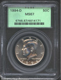 Kennedy Half Dollars: , 1994-D 50C MS67 PCGS. Sharply struck with pale lilac and ...