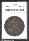 Seated Dollars: , 1842 $1 VF20 ANACS. Deep gray patina covers most of each ...