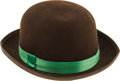Movie/TV Memorabilia:Costumes, Buddy Ebsen's Brown Bowler with Green Band. An extra-large,100-percent wool, jaunty brown derby with a festive green band, ...(Total: 1 Item)